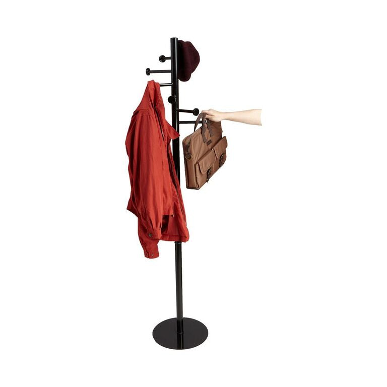 Mind Reader Free Standing 7 Hook Metal Coat and Hat Rack