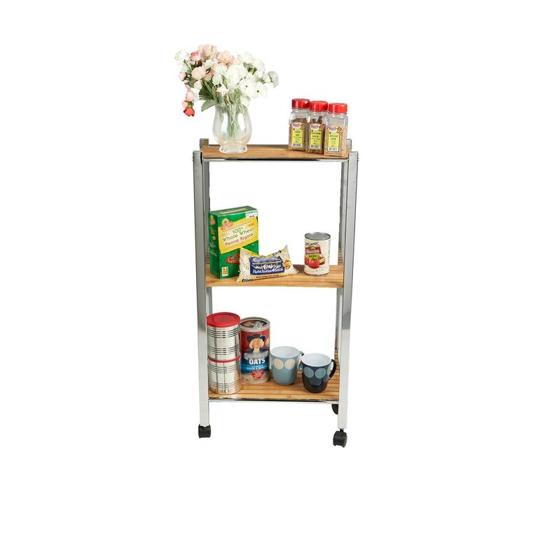 Mind Reader Breakroom Supplies 3 Tier Bamboo All Purpose Utility Cart