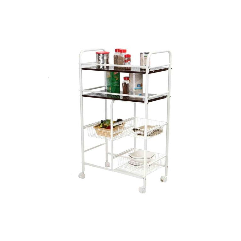 Mind Reader 3 Tier Portable Metal Top Kitchen Trolley
