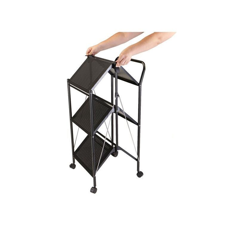 Mind Reader 3 Tier Metal Shelf Foldable All Purpose Utility Cart