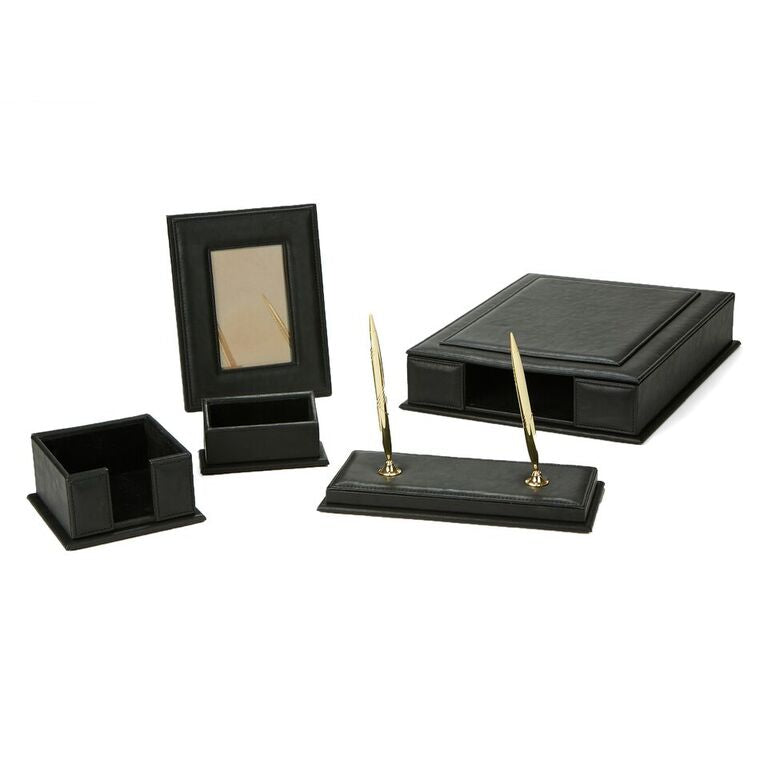 Mind Reader Faux Leather Full Desk Accessory Set Organizer