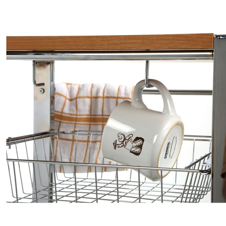 Mind Reader Mobile Kitchen Cart with Wine Rack, Butchers Block Top, Mug Storage, Towel Rack, Bottle Holder