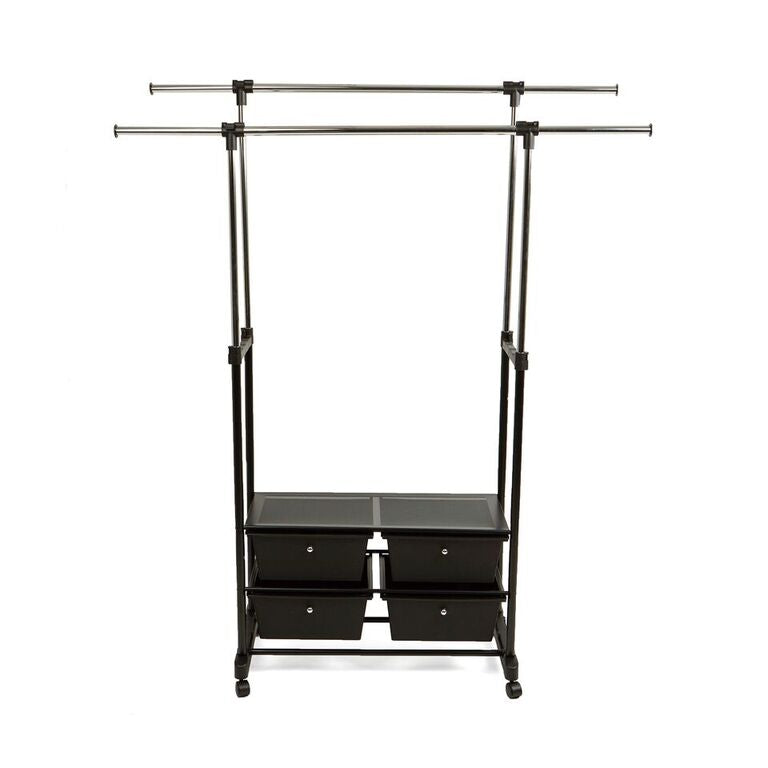 Mind Reader Double Garment Rack with 4 Bottom Drawers