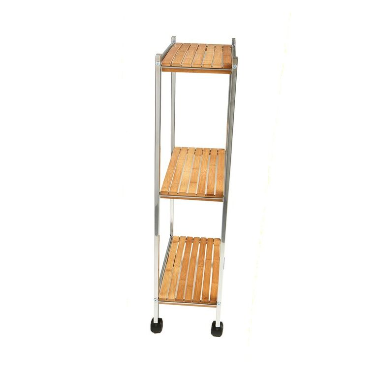 Mind Reader 3 Tier Bamboo All Purpose Utility Cart