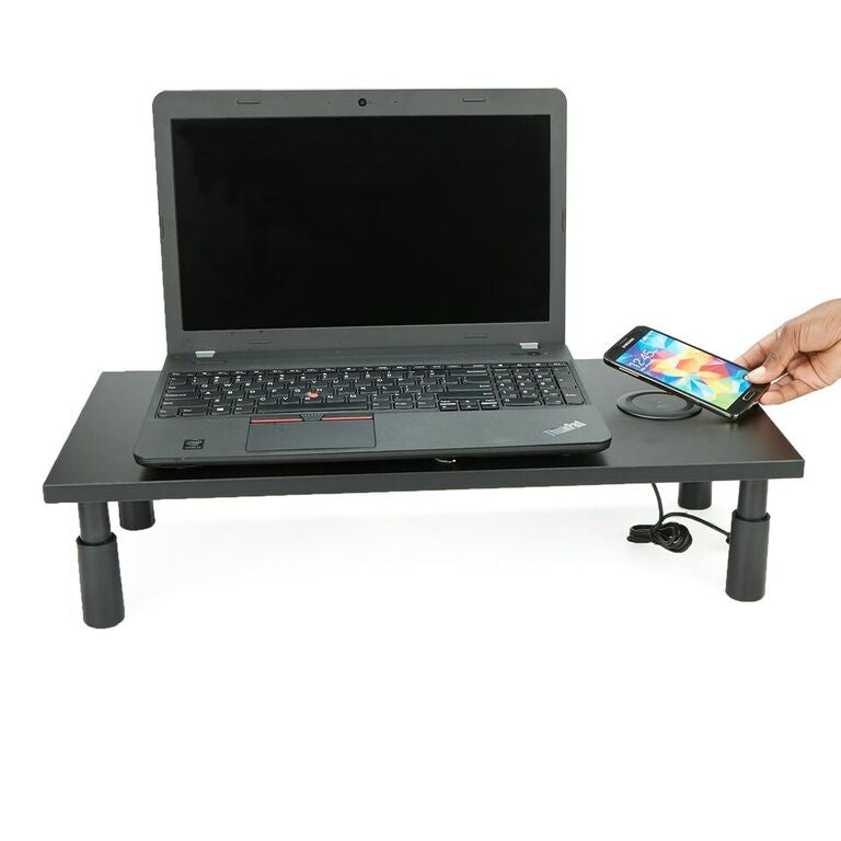 Mind Reader Monitor Stand with Wireless Charging Station, Adjustable Laptop, Monitor, Computer Riser, Keyboard Storage