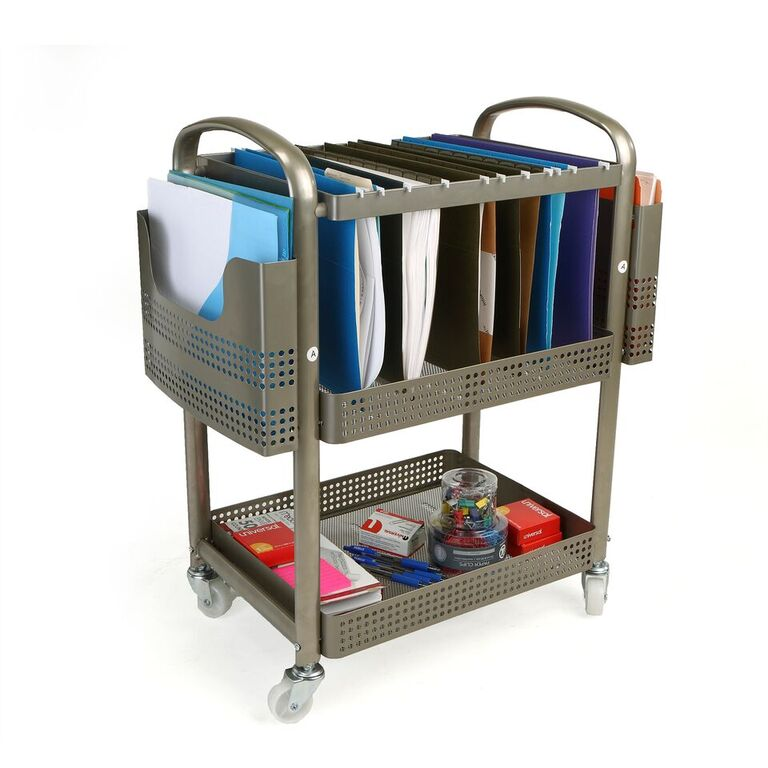 Mind Reader Heavy Duty Metal Mobile File Cart