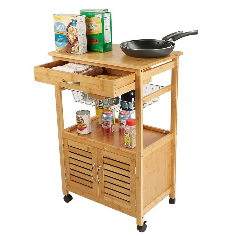 Mind Reader 3 Tier Kitchen Cart Space-Saving Kitchen Trolley, Utility Organizer Rack