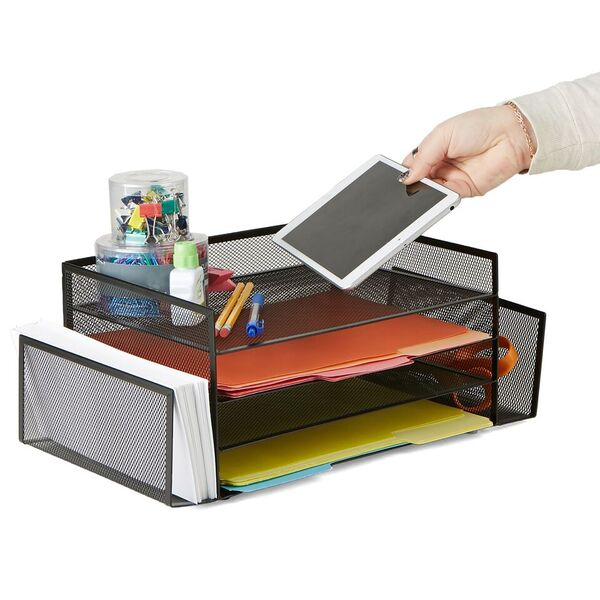 Mind Reader 6 Compartment Desk Organizer with 2 Side Compartments - 6 Pack