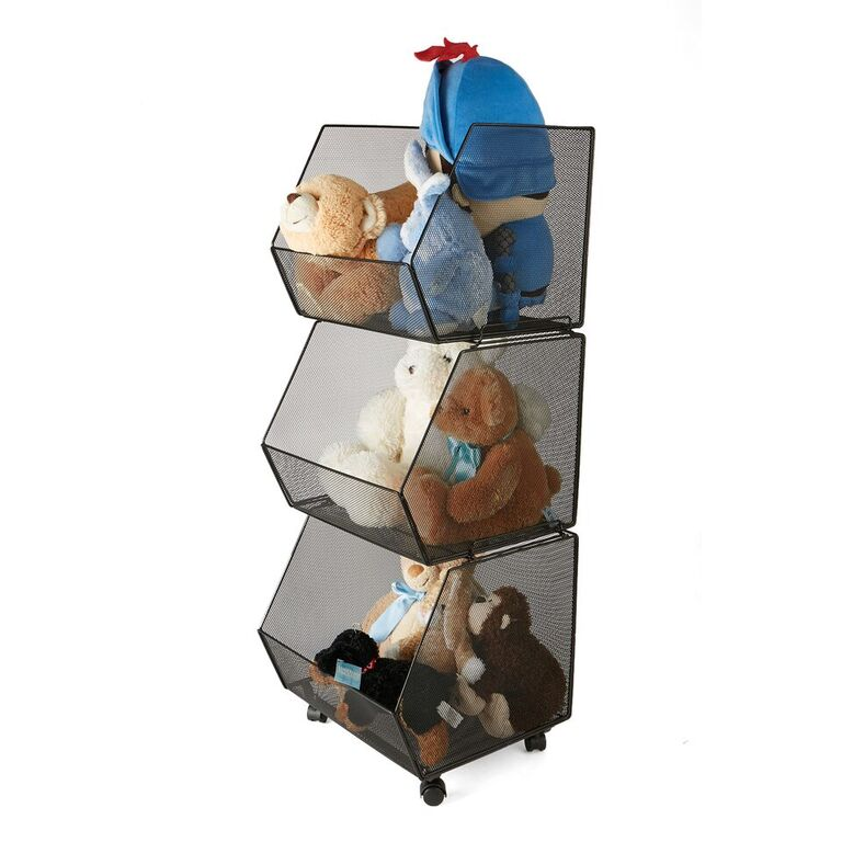 Mind Reader 3 Tier Metal Mesh Rolling Stacking Storage Bins