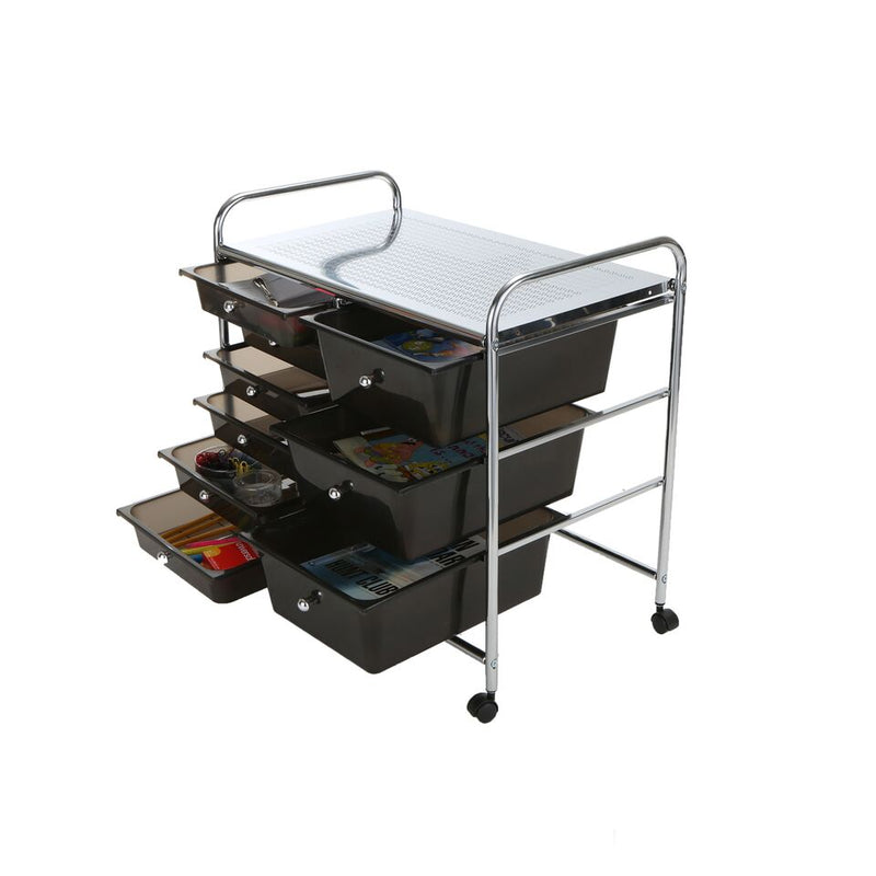 Mind Reader Storage Drawer Rolling Utility Cart, 9 Drawer Organizer