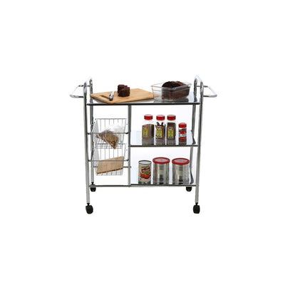 Mind Reader 3-Tier Kitchen All Purpose Utility Cart with 2 Shelves, Baskets for Extra Storage, Handles for Hanging Towels