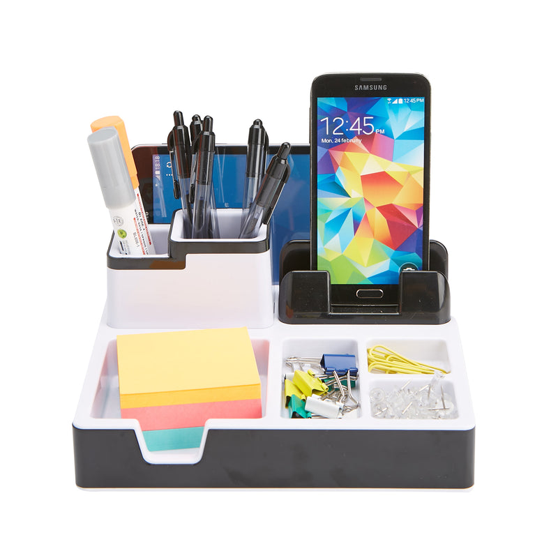Mind Reader USB Port Desk Organizer, Desk Supplies Organizer with Charging Station, Pencil Holder, Paper Clip Holder, Desk Accessories Holder, Black