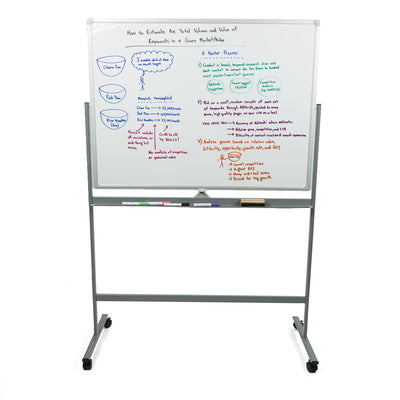 "Mind Reader 36"" x 24"" Rolling, Portable Magnetic Dry Erase Board, Versatile Whiteboard, White"