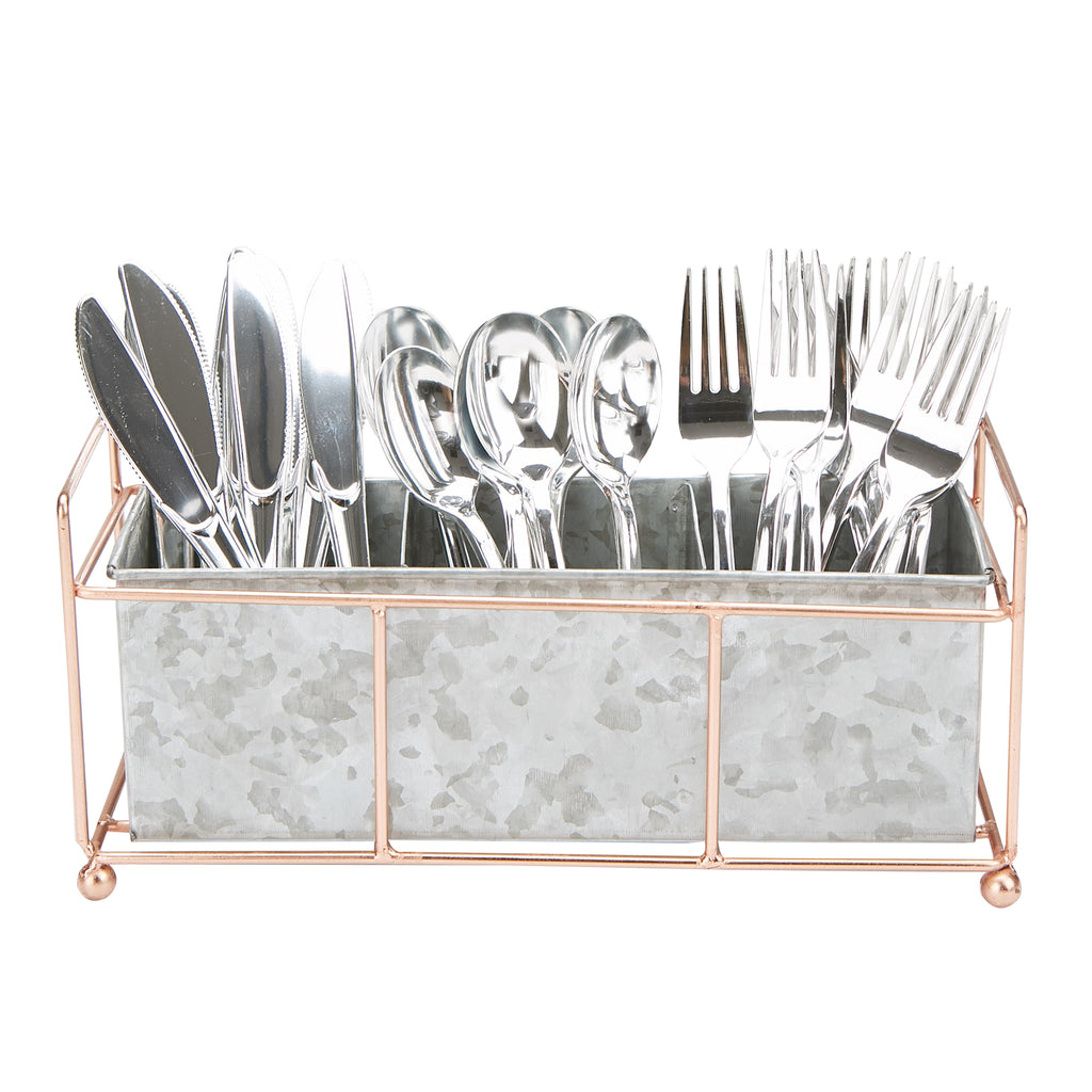 3-Compartment Galvanized Steel Utensil Holder with Wire Base