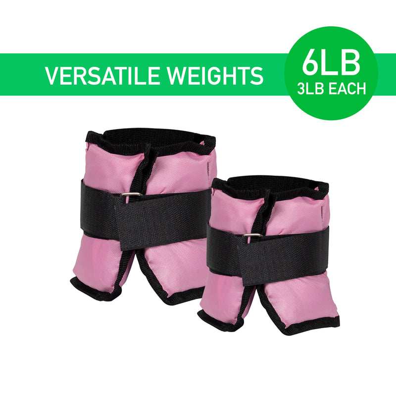 Adjustable Ankle Weights, Wrist Weights, Arm Weights for Jogging, Walking, Aerobics, Fitness, Pink, 3 lb. (Set of 2)
