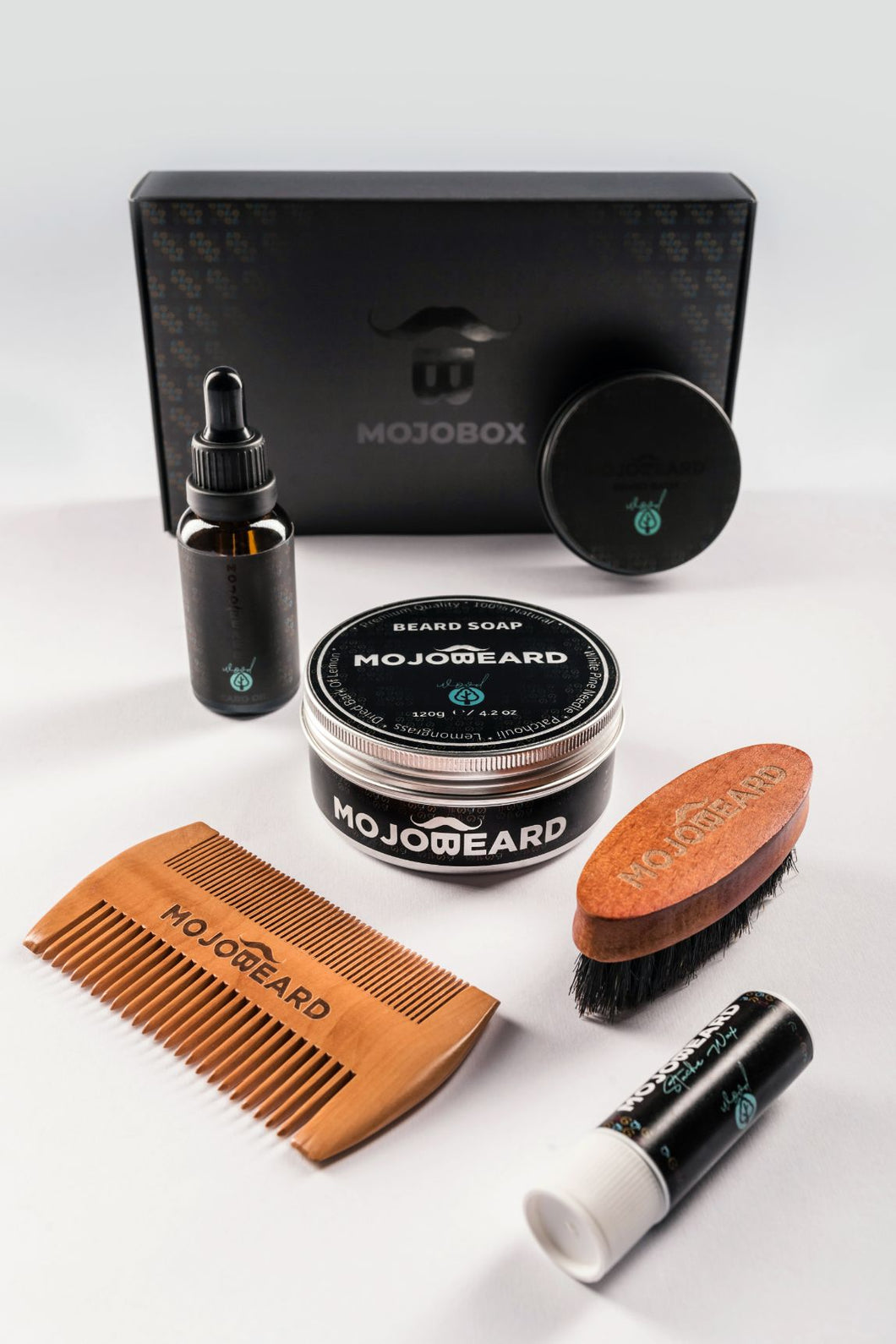 MOJO Six Pack Beard & Stache Combo Wood