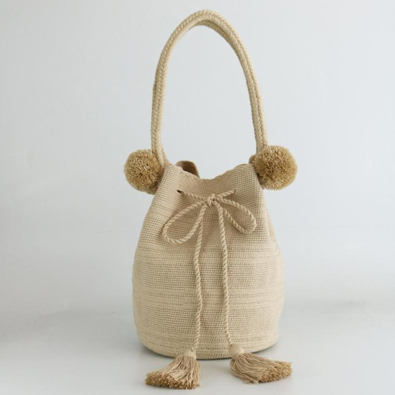 Pom Pom Bag - Latte - wayuu-dreaming