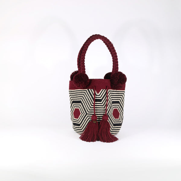 Pom Pom Bag - Web Burgundy
