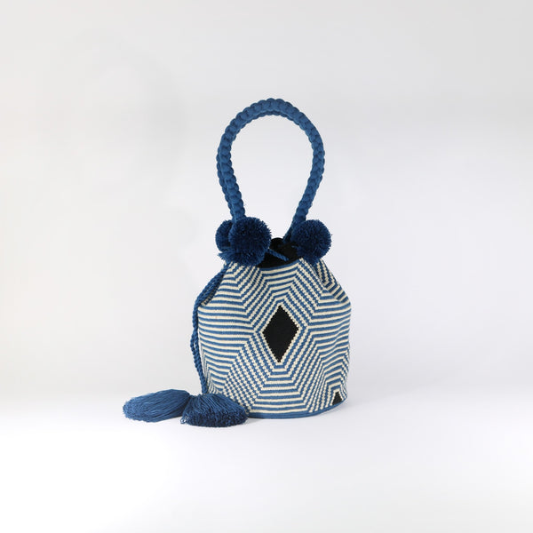 Pom Pom Bag - Web Blue