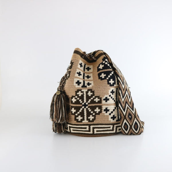 brown flower handmade wayuu mochila bag