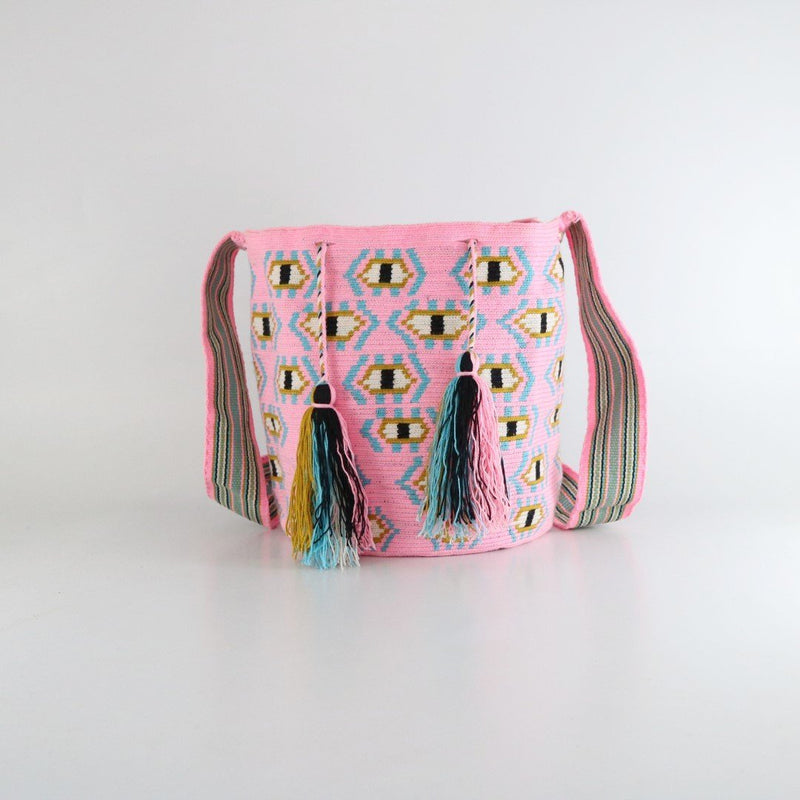pink and black eveil eye handmade wayuu mochila bag