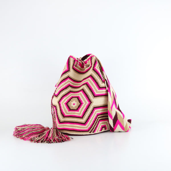 handmade pink and white wayuu mochila bag