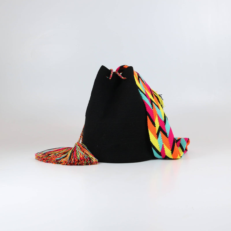 black handmade crossbody wayuu mochila bag