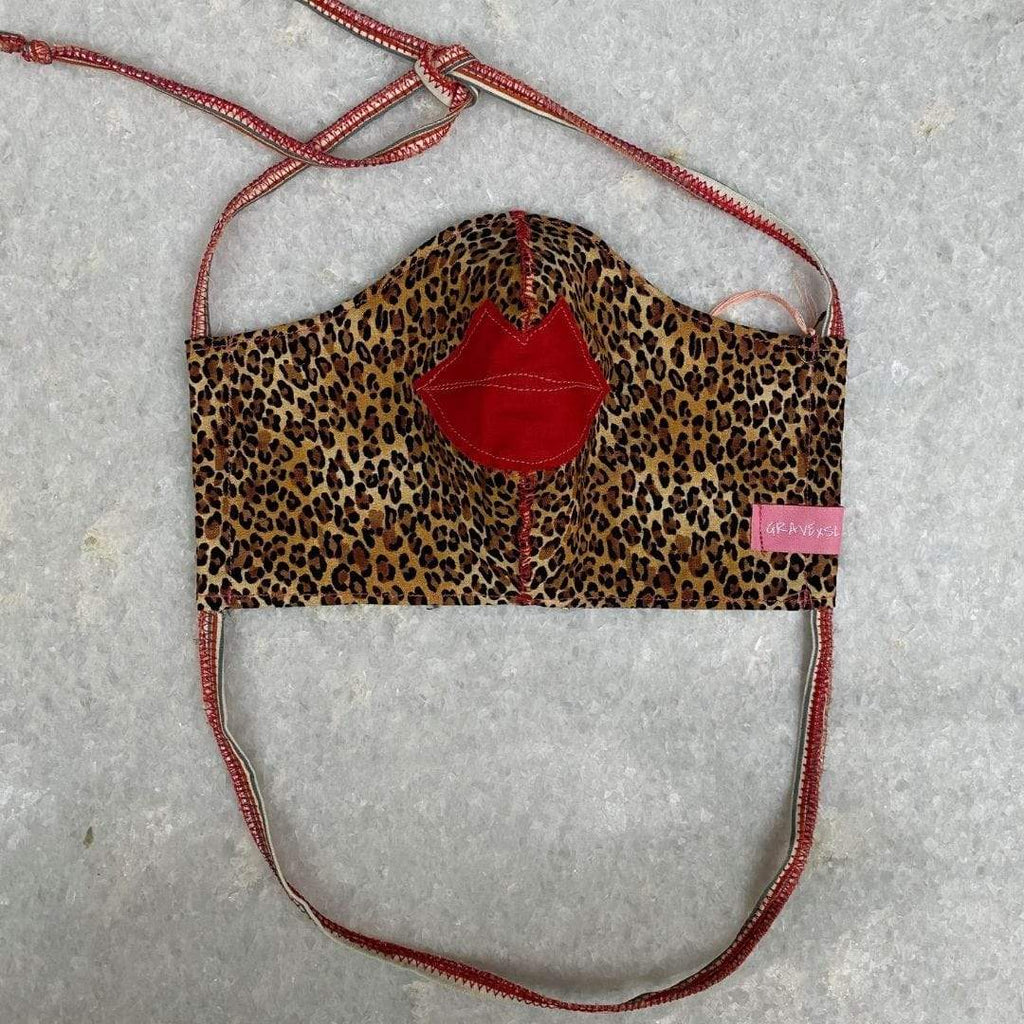 Adoratherapy.com Hand Sewn Embroidered Face Mask in Animal Print with Lips