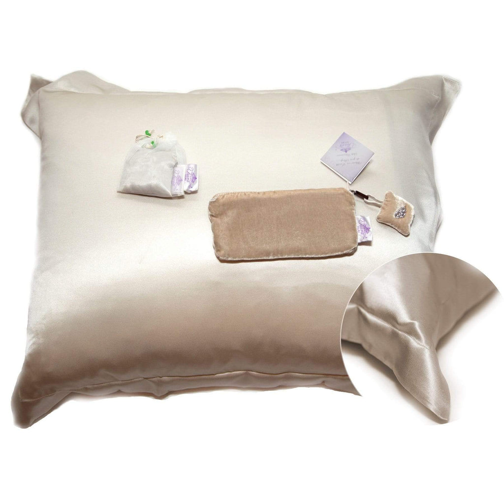 Adoratherapy.com Tiara Silks® Pillowcase +Travel Bag, Ecru Agate/Pearl