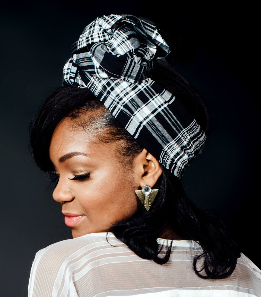 Madras black and white Headwrap