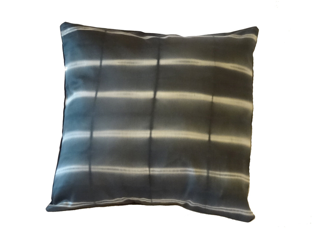 Hand dyed dark grey/White Cushion cover