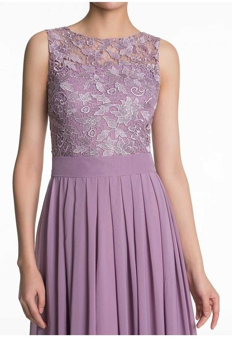 Lydia dusky lavender mauve purple  lace bridesmaid wedding prom cruise evening ballgown dress loulous bridal boutique ltd