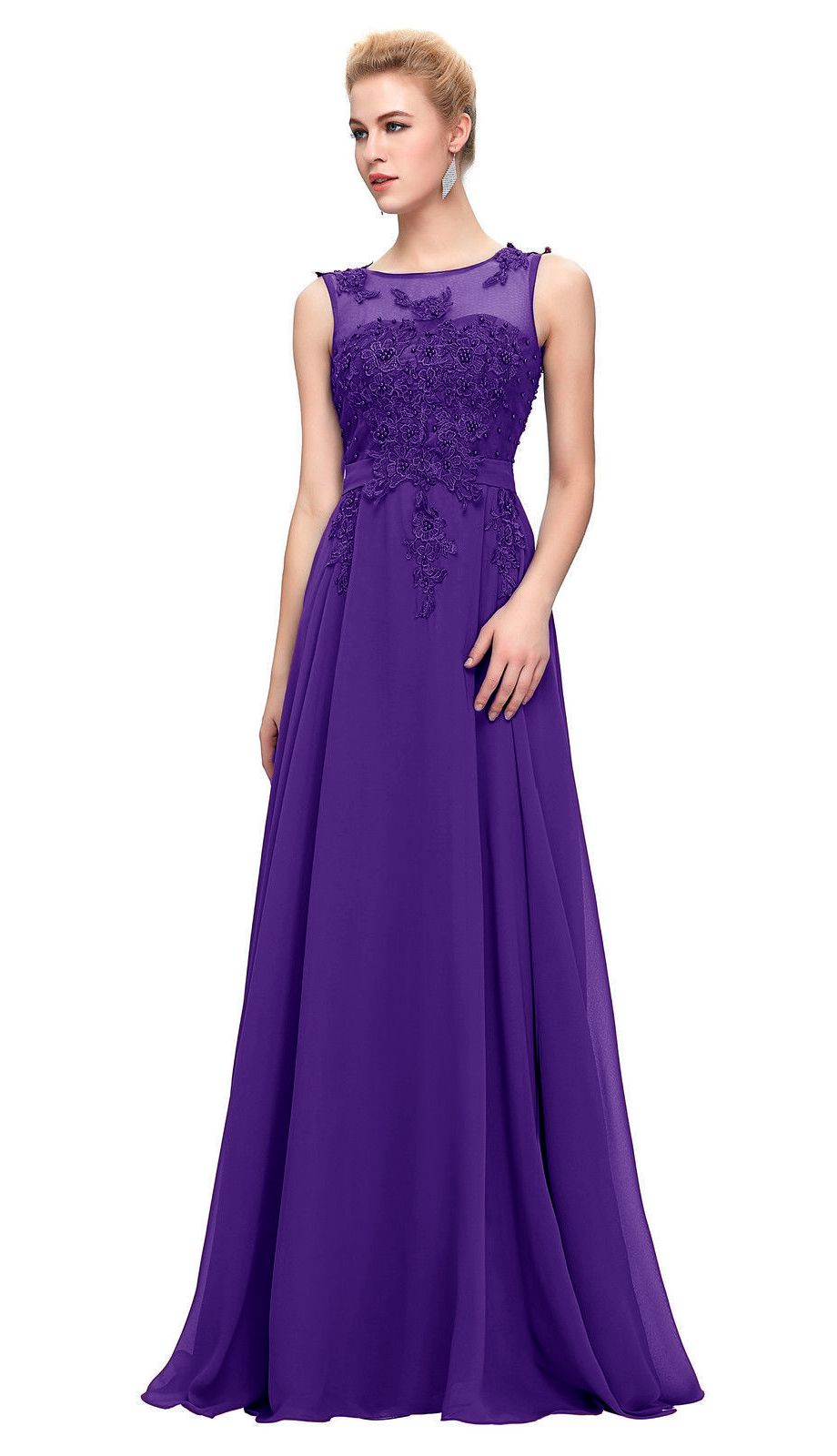 Adele cadbury purple embellished lace chiffon long evening bridesmaid prom dress loulous bridal boutique ltd uk