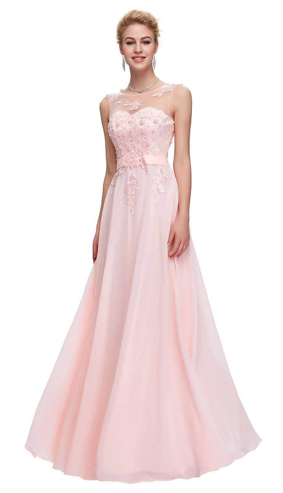 Adele pale light pink embellished lace chiffon long evening bridesmaid prom dress loulous bridal boutique ltd uk