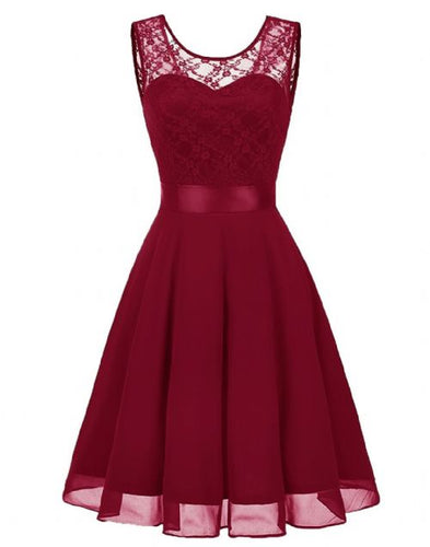 Amelie burgundy berry wine red short knee length lace chiffon bridesmaid prom dress uk