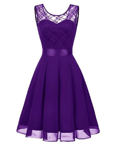 Amelie cadbury purple short knee length lace chiffon bridesmaid prom dress uk