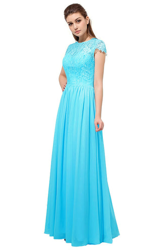 Anna aqua turquoise Blue Lace Chiffon short sleeved long bridesmaid wedding bridal dress uk loulous bridal boutique ltd