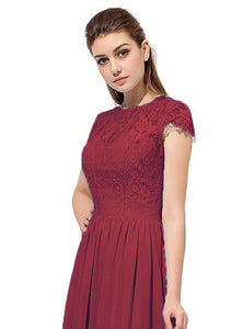 Anna berry burgundy cranberry lace chiffon cap sleeved long bridesmaid wedding bridal evening prom ballgown dress uk loulous bridal boutique ltd