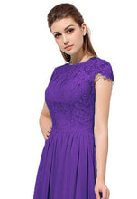 Anna cadbury purple lace chiffon short sleeved long bridesmaid wedding bridal prom evening dress loulous bridal boutique ltd uk