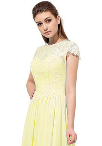 Anna lemon yellow lace Chiffon short sleeved long bridesmaid wedding bridal dress uk loulous bridal boutique ltd
