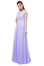 Anna Lilac short sleeved lace chiffon long bridesmaid wedding bridal dress uk