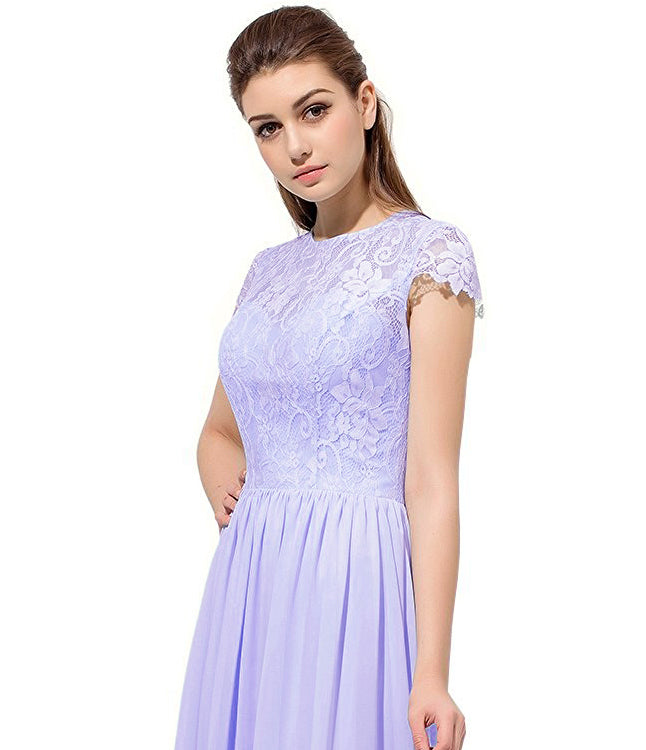 Anna lilac purple lace chiffon short sleeved long bridesmaid wedding bridal prom evening dress loulous bridal boutique ltd uk