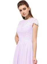 Anna pale light  pink Lace Chiffon short sleeved long bridesmaid wedding bridal dress uk loulous bridal boutique ltd