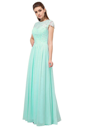 Anna pale light mint green Lace Chiffon short sleeved long bridesmaid wedding bridal dress uk loulous bridal boutique ltd