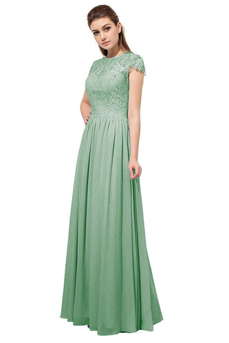 Anna sage bamboo green Lace Chiffon short sleeved long bridesmaid wedding bridal dress uk loulous bridal boutique ltd