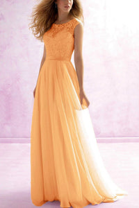 Hayley Pale Apricot Orange LACE CHIFFON LONG BRIDESMAID WEDDING DRESS UK LOULOUS BRIDAL BOUTIQUE