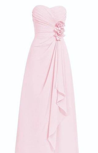 April pale light pink strapless corsage long draped frill bridesmaid wedding bridal dress loulous bridal boutique ltd uk