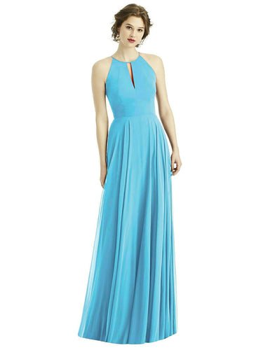 Aqua spa blue turquoise chiffon keyhole long bridesmaid wedding bridal prom evening cruise dress loulous bridal boutique ltd UK