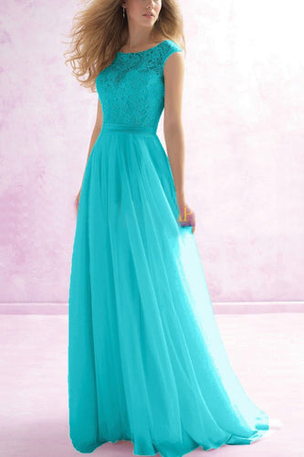 HAYLEY AQUA SPA BLUE TURQUOISE LACE CHIFFON LONG BRIDESMAID DRESS LOULOUS BRIDAL BOUTIQUE UK