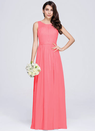 ashley coral orange sleeveless chiffon long bridesmaid wedding prom dress evening loulous bridal boutique ltd uk